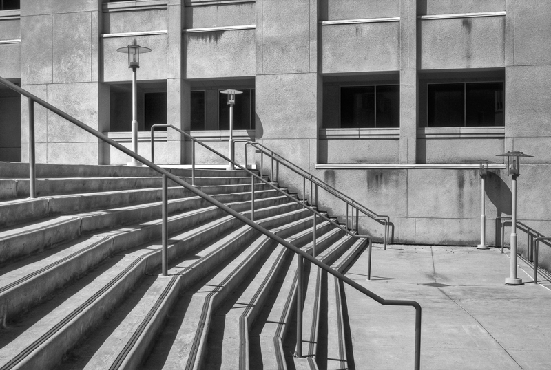 CSUSM Stairs in black and white