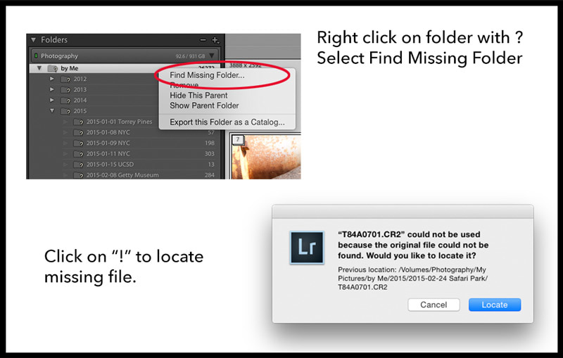 How to find missing files in Lightroom